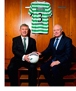 On the ball: Celtic chief Peter Lawwell (left) and Magners MD Tom McCusker.