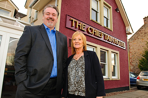 14a_113Punch Taverns' Gavin Stevenson with The Chieftain's licensee, Liz Lawson. The hotel is the second Punch property that Lawson has become involved with.