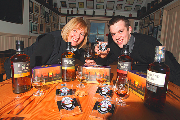 Highland Park's Pat Retson and Orkney Fudge's Ewan McDill launch the new product.