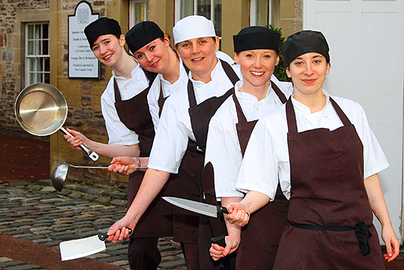 Girl power: The ladies of the kitchen team at New Lanark Mill Hotel.