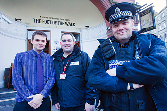 Pub manager Mark Brown (left) with safety officer Michael Traill and PC Mark Muir.