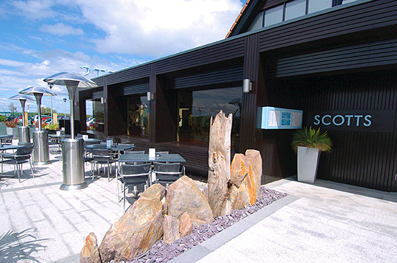 The terrace at Scotts at Largs yacht marina features glass, stone and stainless steel. Buzzworks director Kenny Blair said hard-wearing materials were chosen to withstand the elements and sea air at the west coast venue.