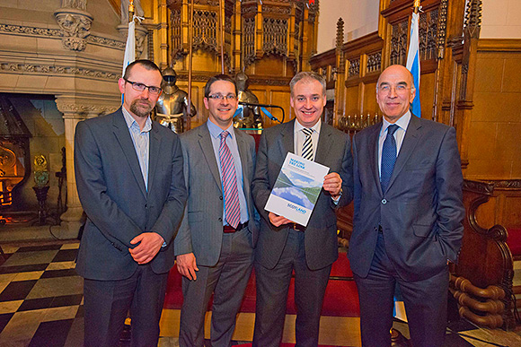 Richard Lochhead, second right, at the launch with (from left) Iain Gulland (Zero Waste Scotland), James Withers and Gavin Hewitt of the Scotch Whisky Association.