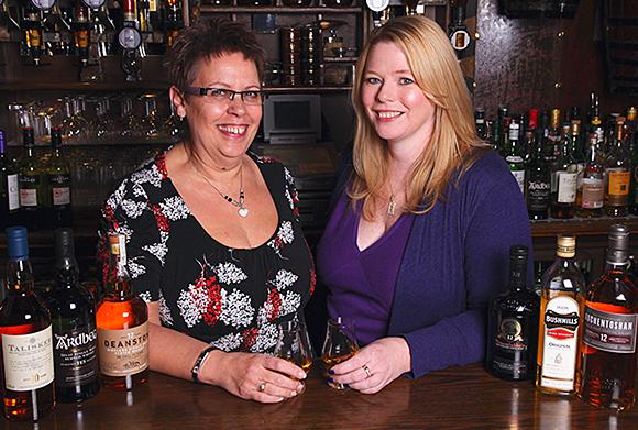 TWA's Sue Beatt and Jo Graham prepare to sample some fine malts.