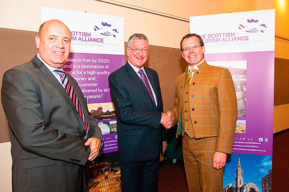 Tourism minister Fergus Ewing flanked by the Scottish Tourism Alliance's Marc Crothall (left) and Stephen Leckie launch the tourism growth strategy last year.