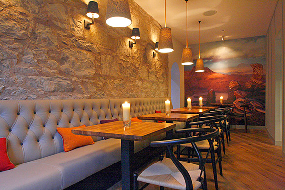 Old meets new: the brasserie at Stac Polly combines Scottish heritage with modern design elements.