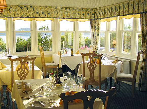 The dining room at Summer Isles Hotel around 8pm on a summer evening