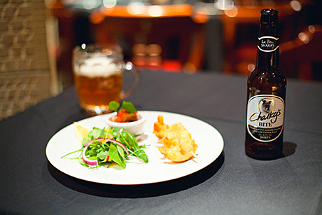 • The menu included prawns in a Coors Light batter with Chalky's Bite from Coors-owned Sharps' Brewery.