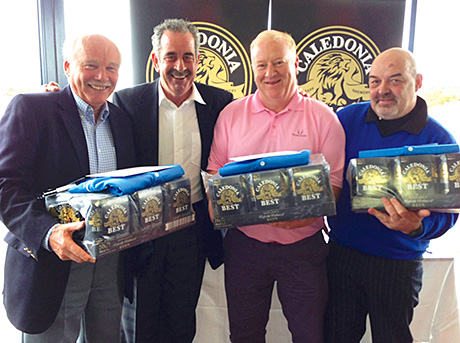 Sam Torrance (second left) with the winning team of golf club stewards (from left) Hugh Park, Allan Saunders and John Cossar.