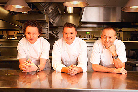 Tom Kitchin (left) with Theo Randall and Michel Roux Jr.