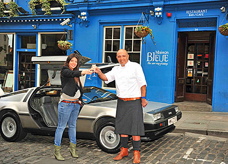 Back to the future: Dean Gassabi and daughter Layla with the 1981 DeLorean car.