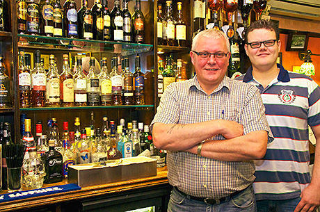 Thomas McDonagh (right) with his father Paul said whisky sales are growing at the Bon Accord in Glasgow – and the spirit is appealing to a broad range of consumers.