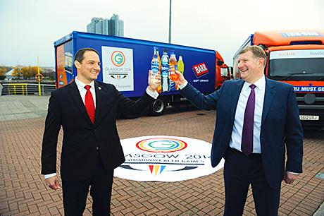 • David Grevemberg of Glasgow 2014 (left) and Roger White of AG Barr.
