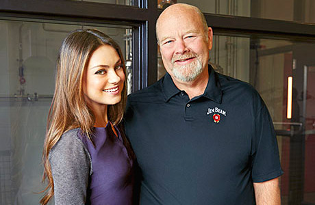 Mila Kunis with Jim Beam's seventh generation master distiller Fred Noe in Clermont, Kentucky.