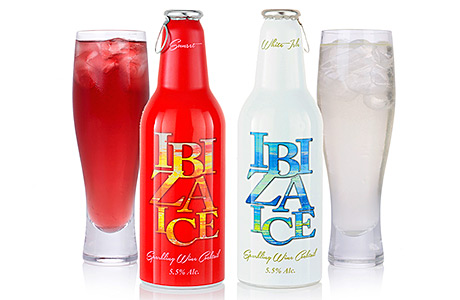 • Wine-based cocktail Ibiza Ice is available in two variants: Sunset (left) and White Isle.