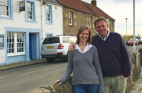• New venture: Graham and Rachel Bucknall outside Elie pub The Ship Inn.