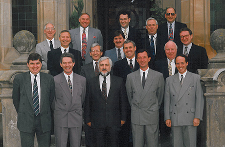 • Donald Campbell, front left, and the Forth Wines team in the '80s.