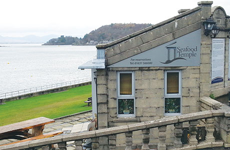 """• The Seafood Temple in Oban offers """"stunning"""" views overlooking the island of Kerrera."""