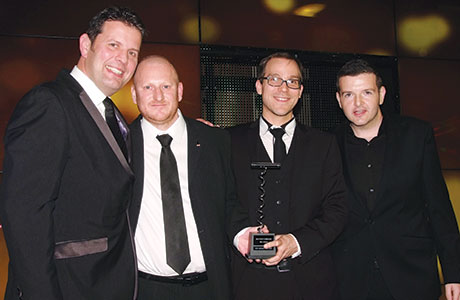 • The team from Ubiquitous Chip collecting the 2014 SLTN Wine Award.