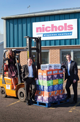 Nichols Dispense, Glentyne Road, Stirling, FK7 7LH. Nichols Dispense expand into Scotland with a new depot in Stirling. Pictured are Marnie Millard (CEO), Nick Yates and Vimto UK Commercial Group Director Andrew Milne (R). © & Byline Phil Rider. Lighthouse Images. M: 07836 351298 philpix1@me.com www.philriderphotographer.co.uk