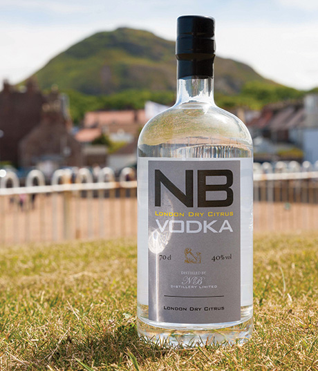 The first NB Vodka bottle poses with Berwick Law in the background.