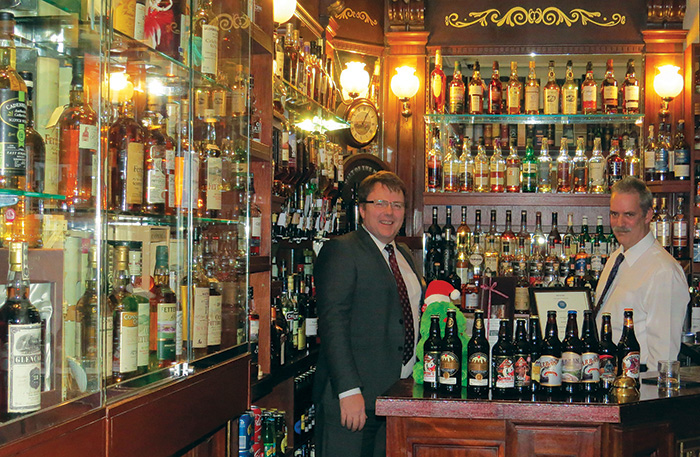 Managing director Dylan Wren (left) behind the bar of the Glenesk Country House Hotel, Edzell.