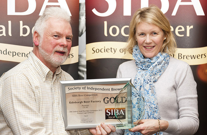 • Winners included Edinburgh Beer Factory, seen here collecting an award from Gerald Michaluk.