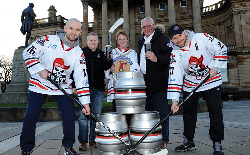 Paisley Pirates team members with Moore, Hall and McDonagh in Paisley.