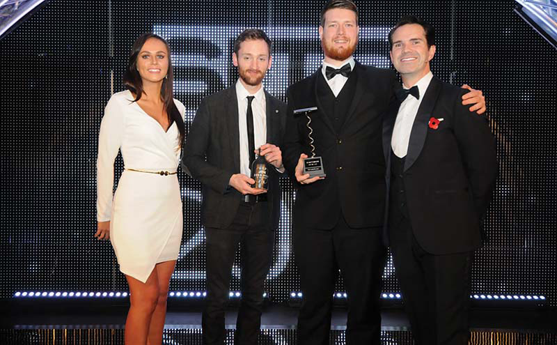 • Joe Dick (second from right) collects the SLTN Craft Beer Award at last year's ceremony.