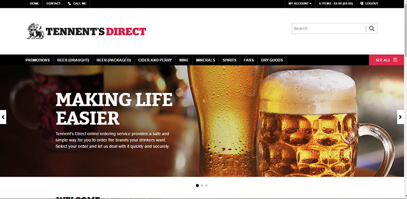 Tennent's Direct site