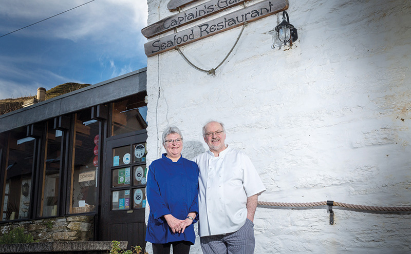 • Jim and Mary Cowie outside The Captain's Galley. It lays claim to being the most northerly restaurant on the UK mainland.