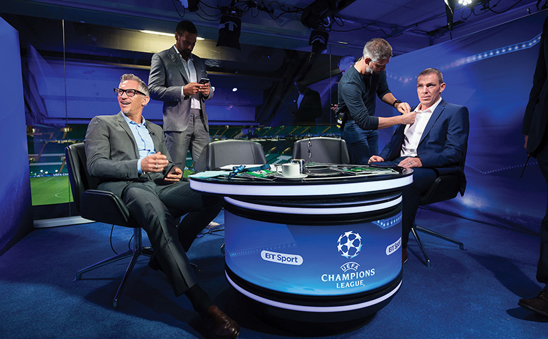 BT Sport, Celtic Park, Glasgow, 28/9/16. Preparations for the Celtic V Manchester City Champions League match. L to R, Gary Lineker, Rio Ferdinand, BT crew member, Richard Dunne. For further information please contact Stefan Popovic, Pitch PR, 07584237275, stefan.popovic@pitch.co.uk . © Malcolm Cochrane Photography +44 (0)7971 835 065 mail@malcolmcochrane.co.uk No syndication No reproduction without permission