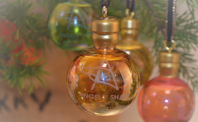 Glass baubles filled with Scotch whisky