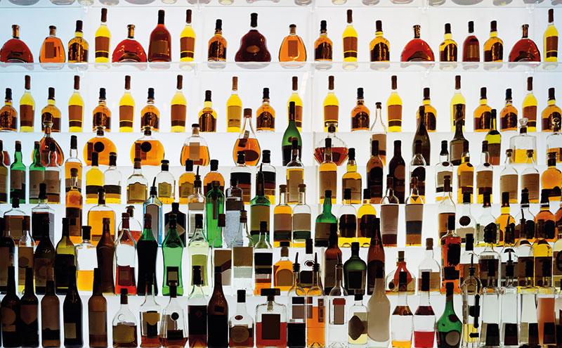 Premium spirits on a bar