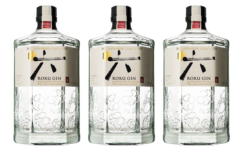 Roku Japanese gin bottles