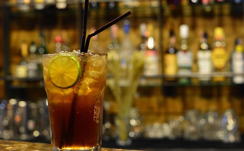 Glass with straw