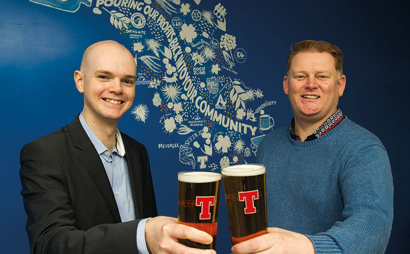 Cairns of Tennent's and Thewlis of Harry's raise a glass to the new venue.