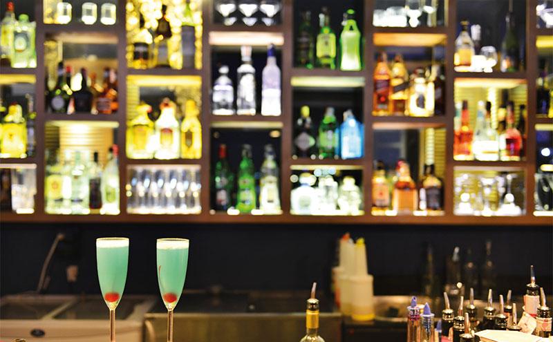a stocked bar