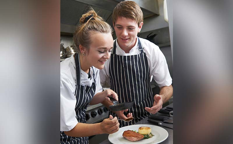 Male and female chef