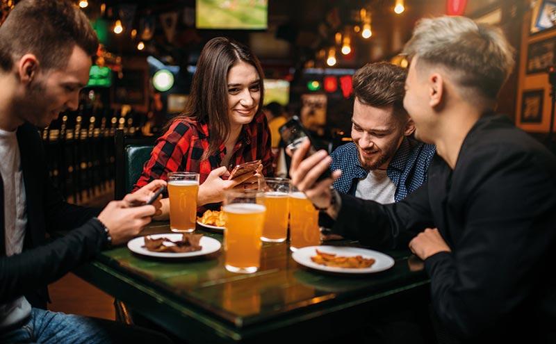 people eating at pub