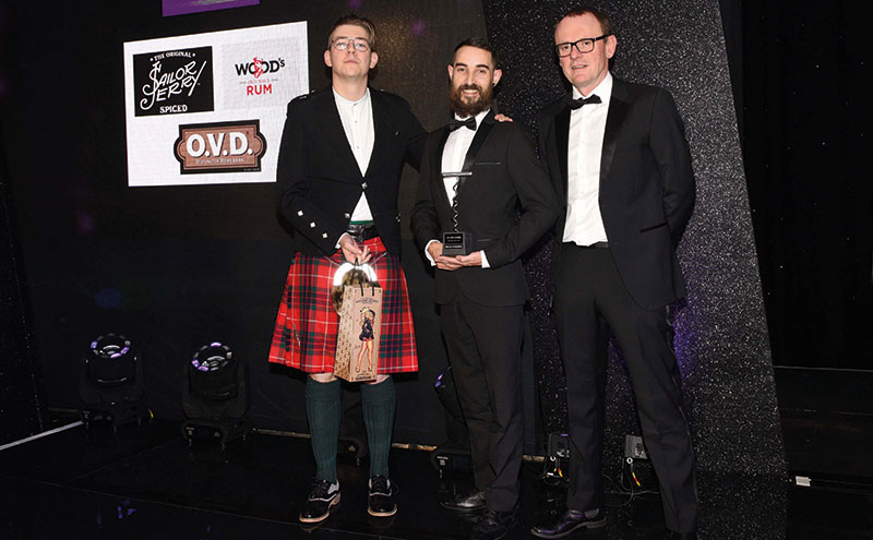 Winning ways: AJ McMenemy collecting the Rum Bar of the Year award at the SLTN Awards in November