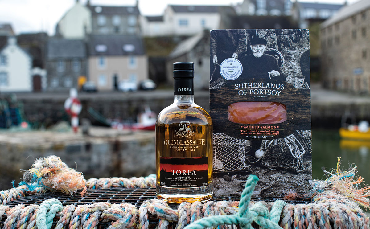 Perfect partners: smoked salmon has been infused with Glenglassaugh's Torfa peated malt