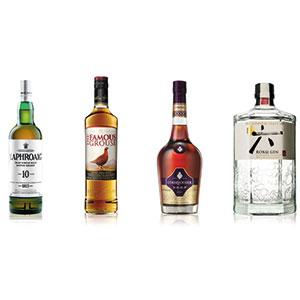 four bottles of spirits