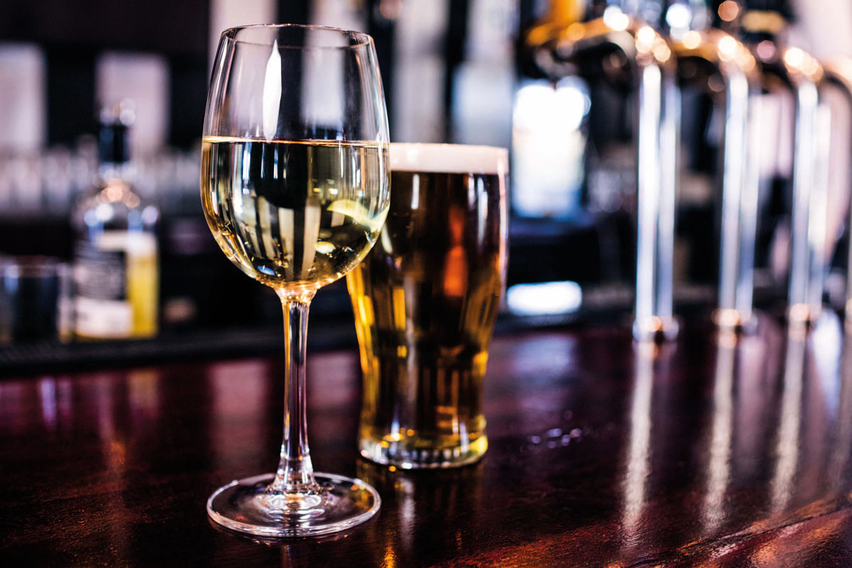 wine and beer on bar
